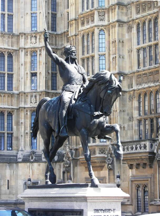 Richard the Lionheart statue out Parliament in London